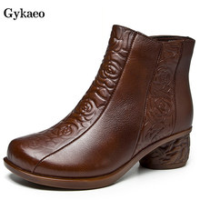 Gykaeo Retro Comfortable Genuine Leather Women Boots Vintage Embossed Style Winter Cotton Shoes Woman Floral Warm Ankle Boots(China)