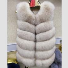 Женский жилет из натурального меха голубой лисы, жилетка, пальто, куртка без рукавов, Толстая теплая зимняя длинная настоящая Роскошная длинная