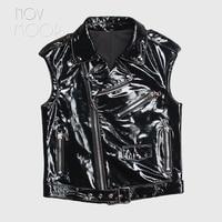 Novmoop 2020 new fashion style summer glossy patent sheepskin genuine leather vest women sleeveless tops vetement femme LT3177