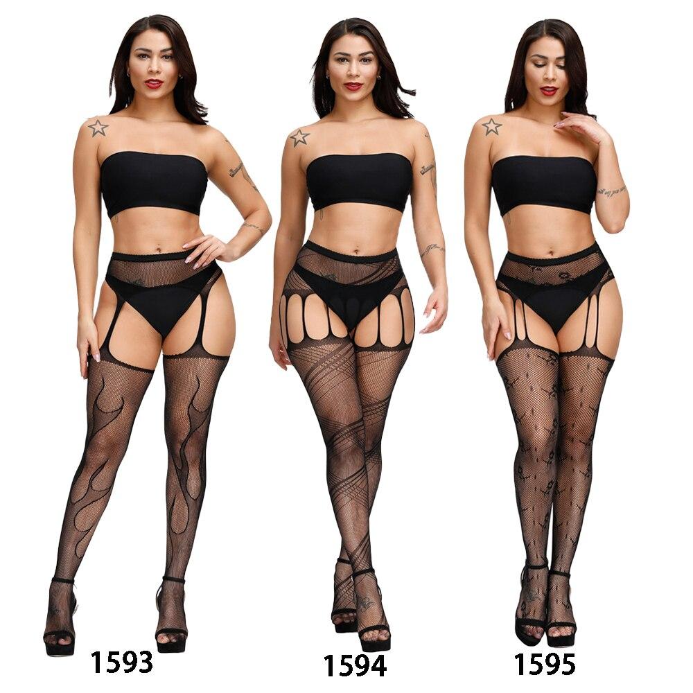 H485f4f64b24b4315a357ad3d7074a7bf9 Lencería Sexy Porno erótico para mujer, lencería de talla grande, ropa interior, muñecas, medias sin entrepierna, encaje transparente sólido