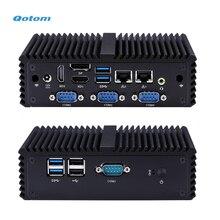 Qotom четырехъядерный процессор J3160/N3160 безвентиляторный мини промышленный ПК Двойной LAN 3 HD видео порта 4 RS232