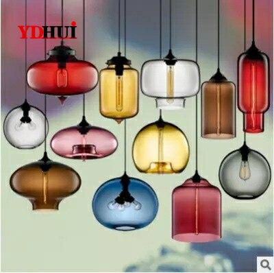 Işıklar ve Aydınlatma'ten Kolye ışıkları'de Modern vitray kolye ışıkları renkli asılı lamba Loft Hanglamp yemek odası mutfak için ev armatürleri endüstriyel dekor title=