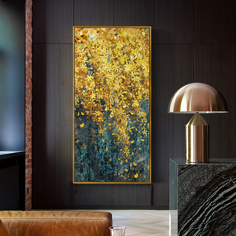 Modern Canvas Painting Poster And Print For Living Room Home Decorative Large Art Wall Painting Golden Leaf Restaurant Picture