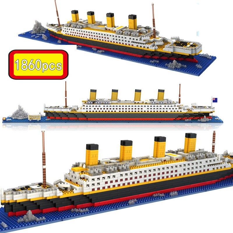 1860 pçs rms titanic modelo grande navio de cruzeiro/barco 3d micro blocos de construção tijolos coleção diy brinquedos para crianças presente natal