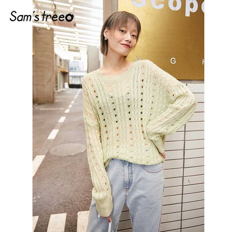 SAM'S TREE Green Solid Cut Out Loose Casual Knit Pullovers Sweater Women 2020 Spring White Vintage Long Sleeve Ladies Basic Top