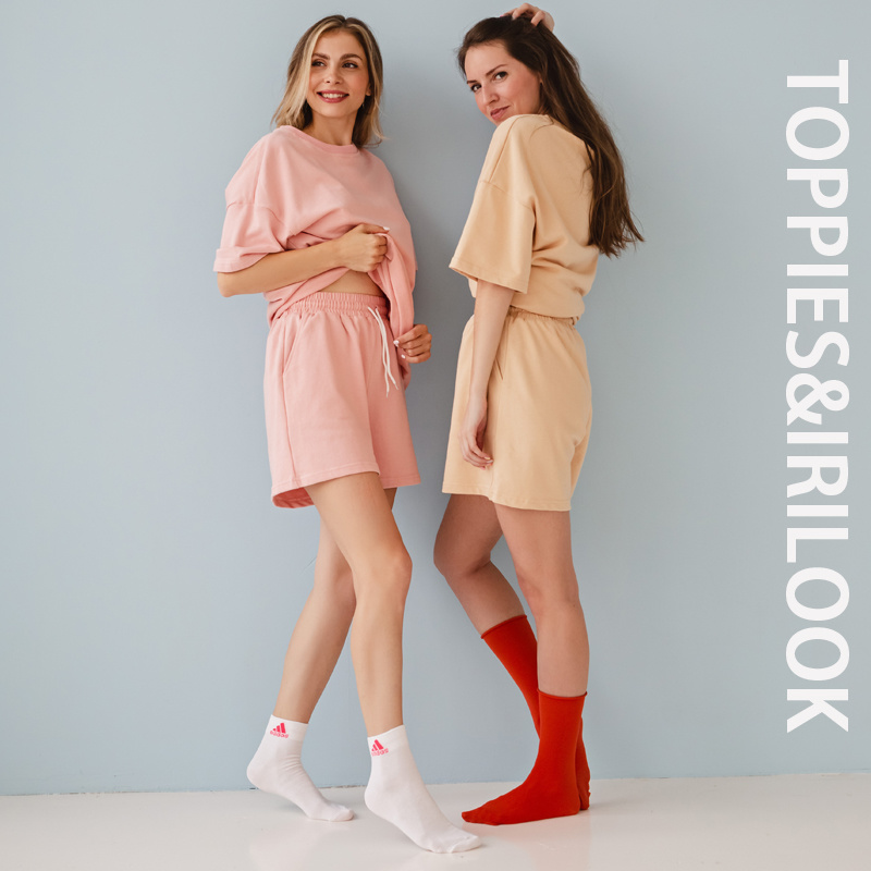 Toppies Summer Tracksuits Womens Two Peices Set Leisure Outfits Cotton Oversized T-shirts High Waist Shorts Candy Color Clothing 1