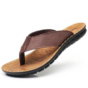 Real Leather Men Beach Slippers Fashion Flip Flops With Soft Sole Trendy Comfortable Easy To Match Good Quality Men Summer Shoes