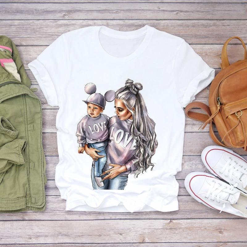 Women Cartoon Super Mom Life Summer Print Lady T-shirts Top Tee Ladies Graphic - tops-tees