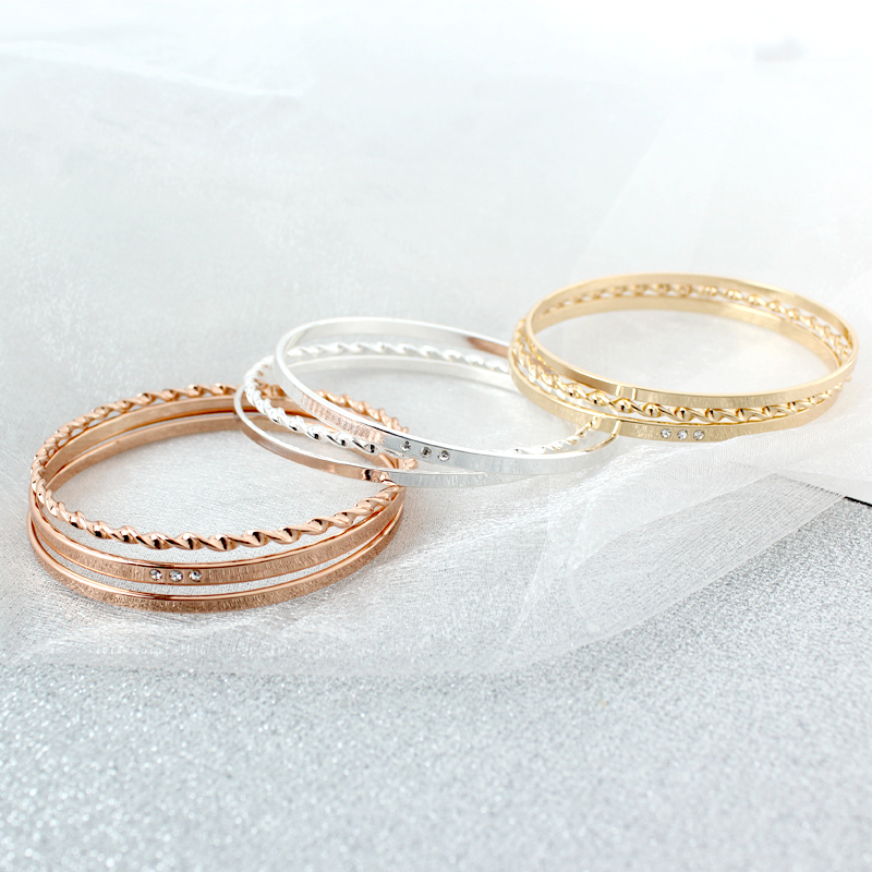 Bohemian 3Pcs/<font><b>Set</b></font> Crystal Bangle <font><b>Bracelet</b></font> <font><b>Set</b></font> Mixed Gold Color Stainless Steel Knitted Design <font><b>Bracelet</b></font> Bangle <font><b>Sets</b></font> image