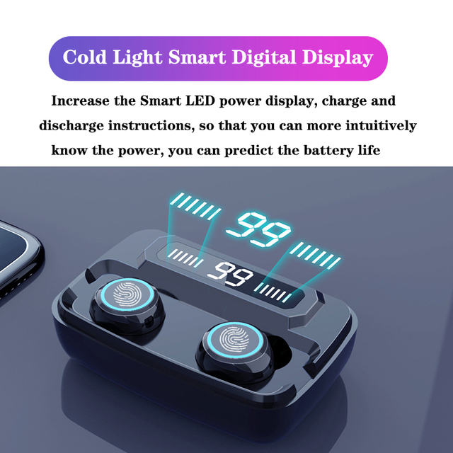 3500mAh LED Bluetooth Wireless Earphones Headphones Earbuds TWS Touch Control Sport Headset Noise Cancel Earphone Headphone 2