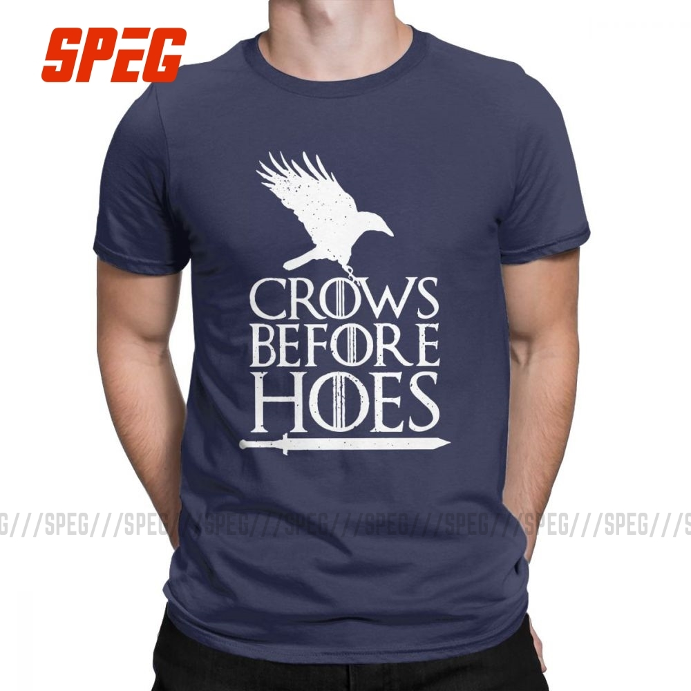 Crows Before Hoes GOT Men's T Shirt Game of Thrones Nights Watch Jon Snow Cool Tees T-Shirt 100% Cotton Printed Clothes image