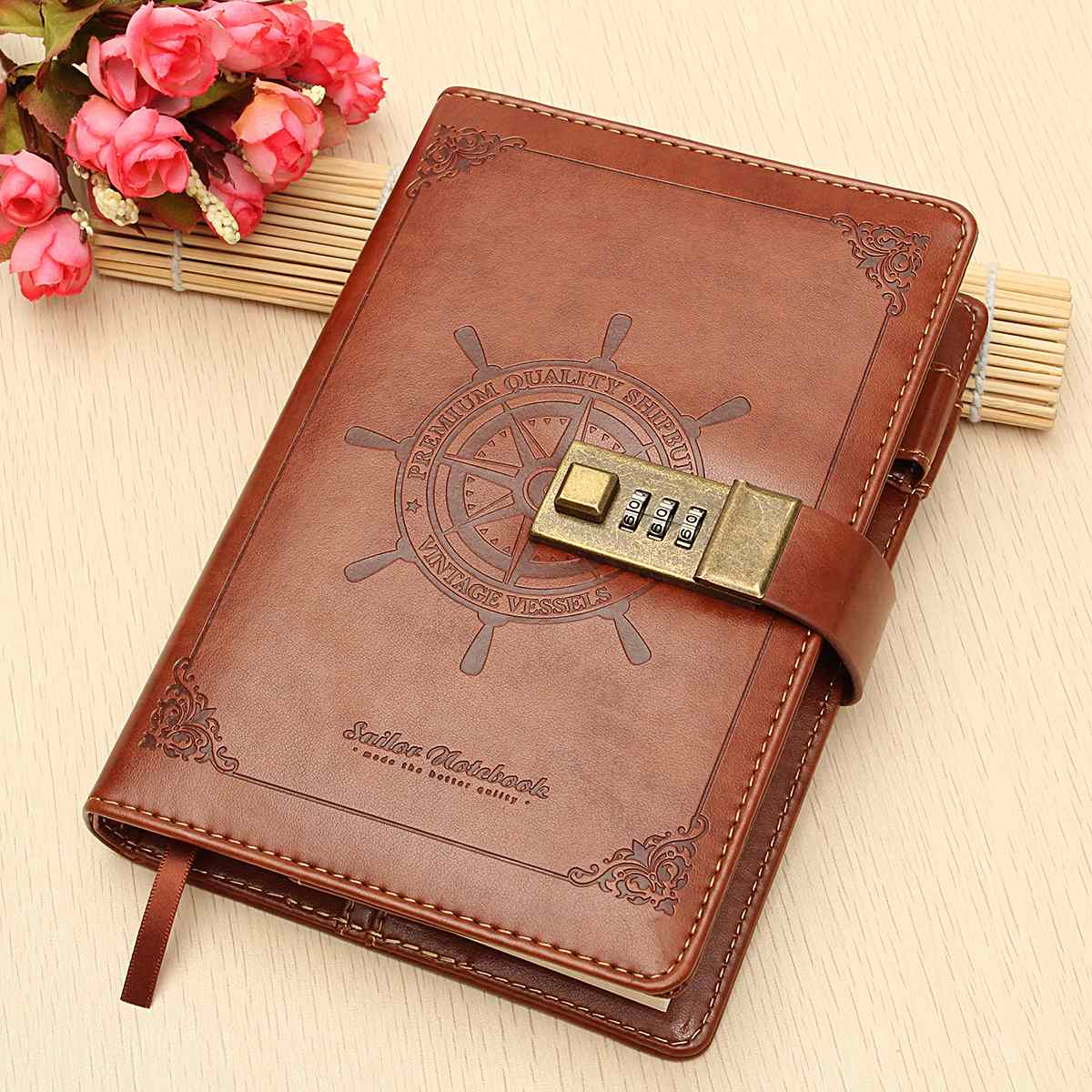 1pc Vintage Rudder Brown Leather Journal Blank Diary Note Book With Password Code Lock Office School Stationery Supplies Gifts