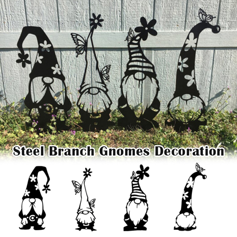 Steel Branch Gnomes Decoration Cute Standing Silhouette for Home Garden Yard Outdoor Decor MOWA889