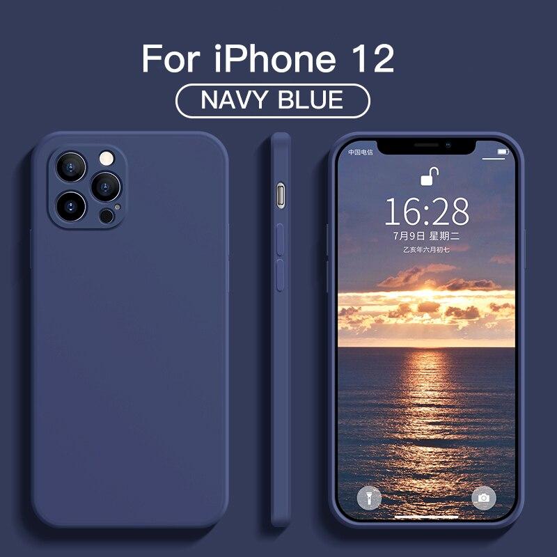 Custodia morbida originale per iPhone 11 12 Pro Max 7 8 6 6s Plus 12 mini custodia in Silicone liquido per XR X XS Max SE 2020 Cover antiurto 2