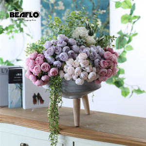 1 Bouquet 21 heads Artificial Peony Tea Rose Flowers Silk Fake flores Wedding Flower DIY Home Garden Decoration fake plants(China)