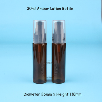 Wholesale 30ml PET Amber Bottle Empty Refillable Lotion Pump Bottle Cosmetic Container Packaging Jar 100pcs/lot
