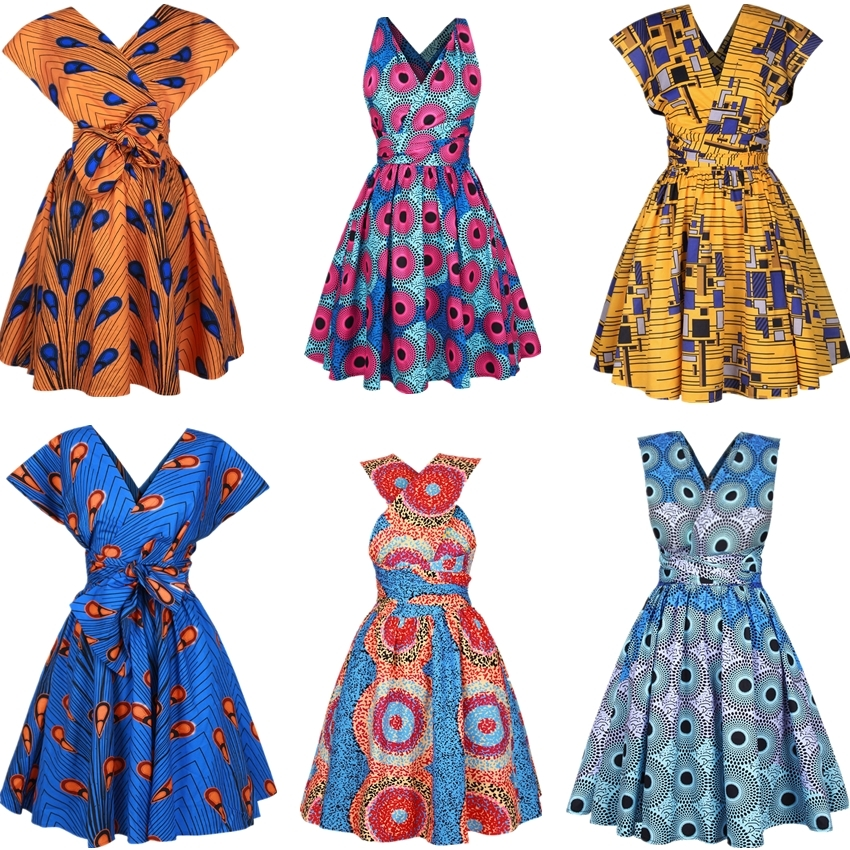 2020 New Floral National Print African Dresses For Women Evening Party Pleated  Noble Dashiki Bazin African Clothes Riche Female