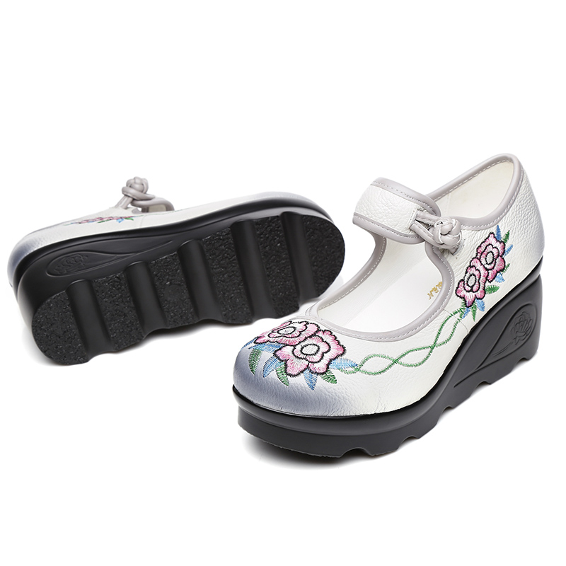 GKTINOO 2020 Spring Handmade Shoes Platform Wedges Women Pumps Flower Embroider Genuine Leather Women Casual Shoes High Heels