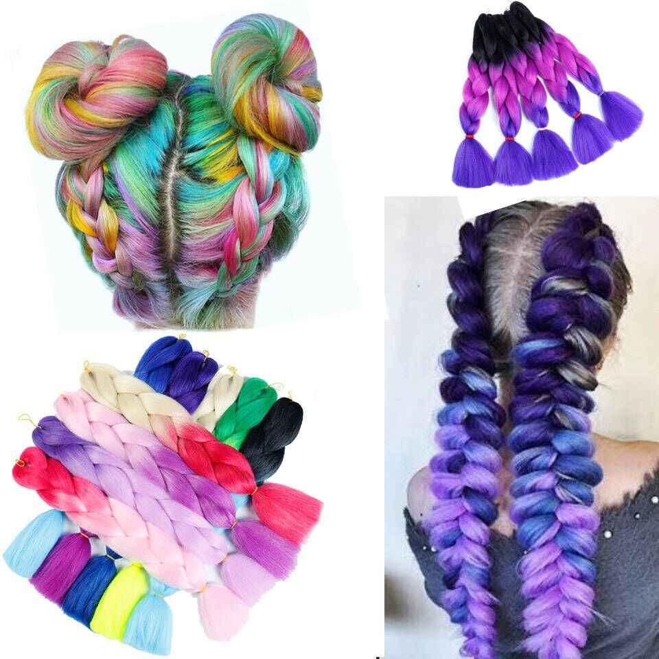 Ailiade Synthetische Haak Doos Vlechten Kanekalon Ombre Pre Uitgerekt Jumbo Vlechten Hair Extensions Roze Bundel Vrouwen Dreadlocks
