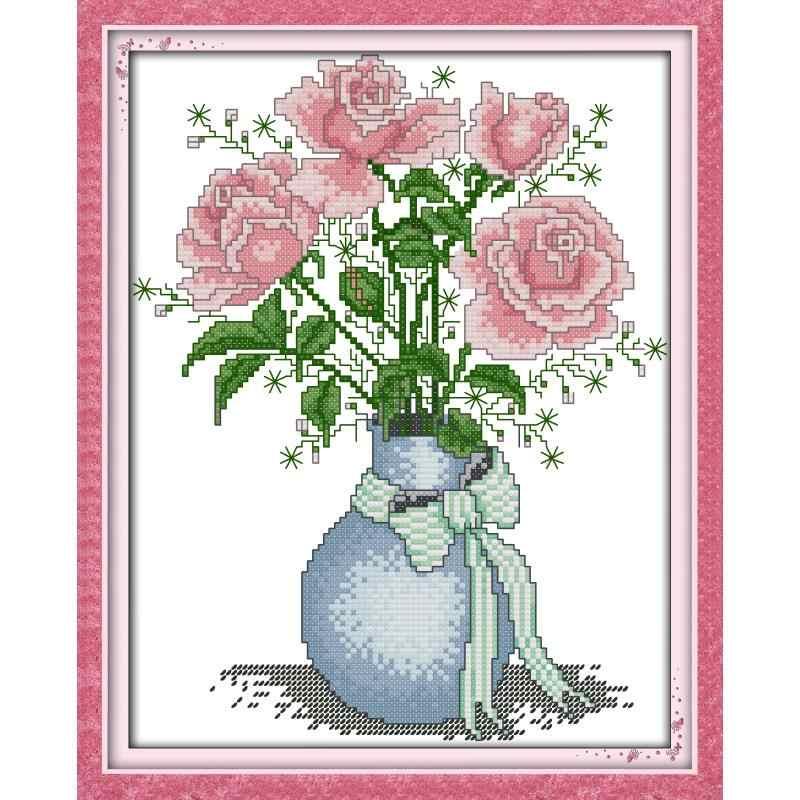 Rose Tulip Vas Seri DMC Cross Stitch Kit 11CT14CT Hitungan Bordir Menjahit Bordir DIY Kit Dekorasi Rumah