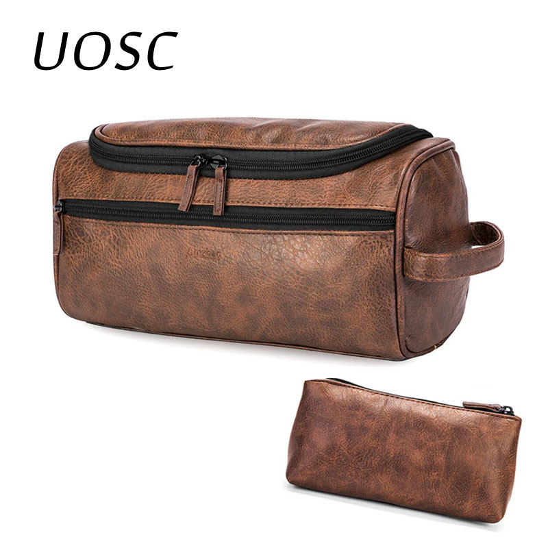 UOSC Leather Toiletry Bag Travel Toiletry Organizer Portable Hanging Makeup Cool Bag Dopp Kit Shaving Cosmetic Bag For Men Women