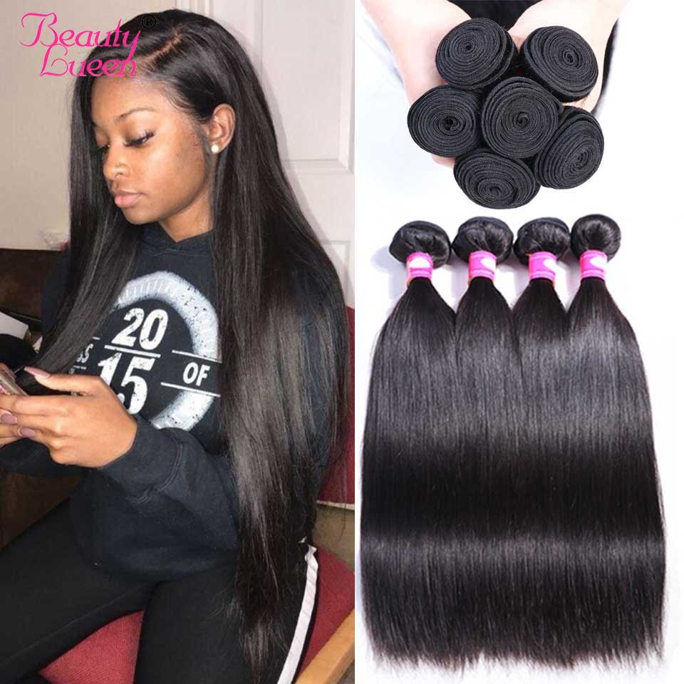 Straight Hair Bundles Brazilian Hair Weave Bundles 100% Human Hair 3/4 Bundles Remy Beauty Lueen Human Hair Extensions