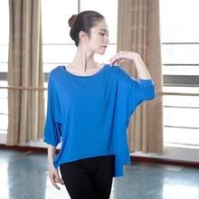 성인 발레 셔츠 새로운 도착 오 넥 긴 박쥐 슬리브 블라우스 4 색 느슨한 체조 댄스 탑 여성을위한 현대 착용