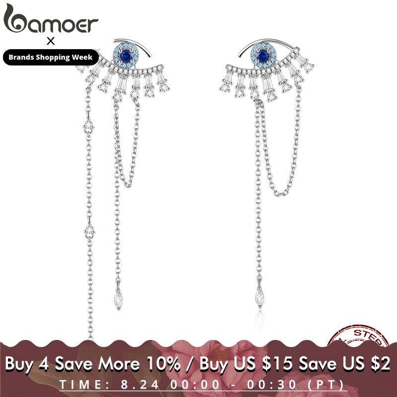 bamoer Blue Luckey Eyes Long Tassel Drop Earrings for Women 925 Sterling Silver Statement Engagement Jewelry Female BSE334