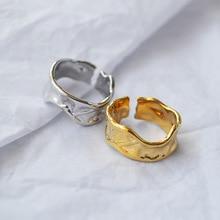 SRCOI индивидуальный сложенный открытие неправильное широкое кольцо Европа ручной работы вогнутая выпуклая неправильная рок открытое широкое кольцо для женщин Новое