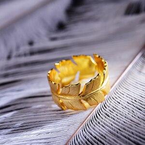 Image 3 - Lotus весело Настоящее серебро 925 проба Натуральный ручной работы дизайнер ювелирных украшений элегантные мягкие кольца с перьями для Для женщин Bijoux