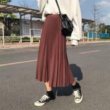 Elegant Solid Midi Pleated Skirt Women 2019 Autumn Winter Ladies Korean High Waist A-line School Long Skirt Female