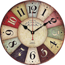 Hot Selling 12-Inch European Style Retro MDF Wood Wall Clock Creative Home Decoration
