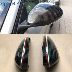 Für Alfa Romeo Giulia 952 Stelvio 949 Zubehör Real Carbon Fiber Seite Spiegel Abdeckung Kappe Ersatz Caps Shell Italienische flagge