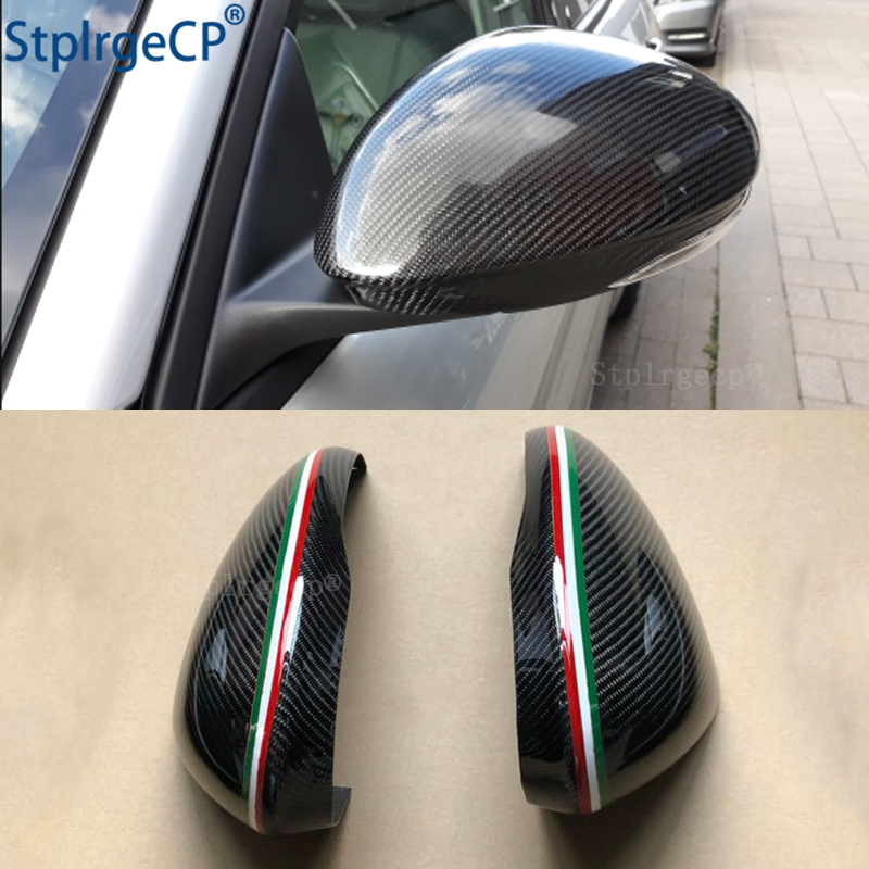 For Alfa Romeo Giulia 952 Stelvio 949 Accessories Real Carbon Fiber Side Mirror Cover Cap Replacement Caps Shell Italian Flag