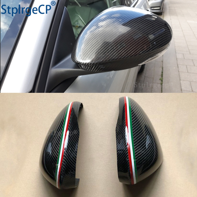For Alfa Romeo Giulia 952 Stelvio 949 Accessories Real Carbon Fiber Side Mirror Cover Cap Replacement Caps Shell Italian flag
