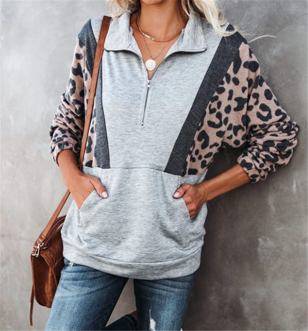 Oversized Hoodies For Womens Leopard Printed Panelled Loose Half Zip Neck Sweatshirt Casual Spring Autumn Female Clothing