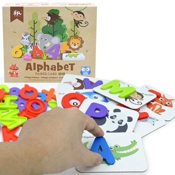 36x Number and Alphabet Flash Cards ABC Montessori for 2 3 4 Year Old Preschool Learning Activities Animal Puzzle Flashcards Set image