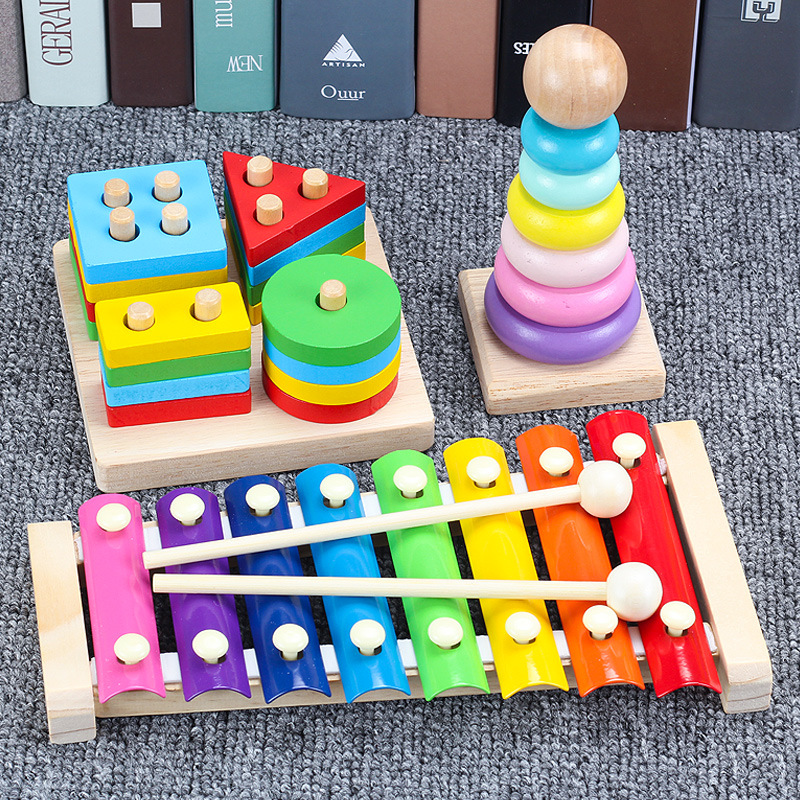 Educational Force Shape Building Blocks Infant Toys For Children 0-1-2-3-Year-Old Early Education GIRL'S Slip-a Year Of Age Baby