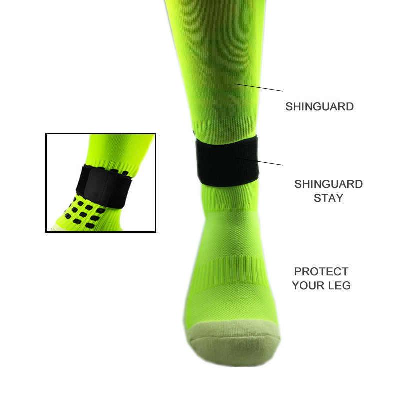 1 coppia di Calcio Shin Guard Rimanere Fisso Fasciatura del Nastro Shin Pads Prevenire Goccia Off Regolabile Elastico Fasciatura Sport Accessori Per Lo Sport