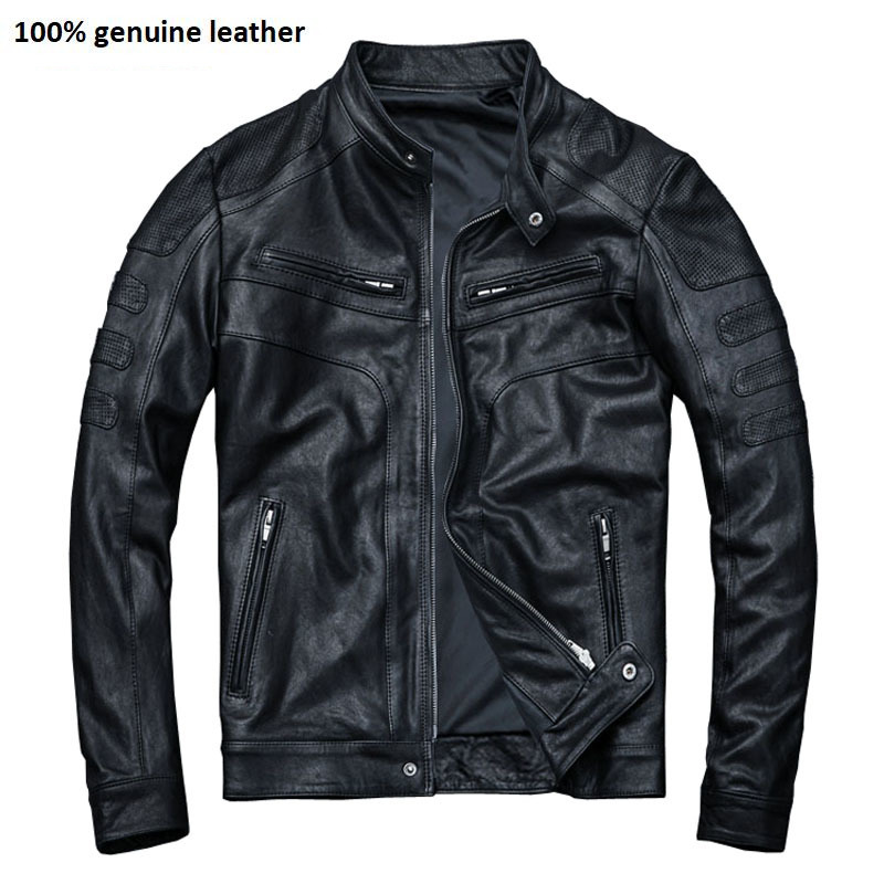 Tanned Leather Jacket Men 100% Sheepskin Genuine Leather Jacket Slim Fit Black Boy Leather Coat Spring Autumn M110
