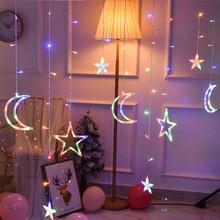 LED Christmas Lights Star Moon Lamp Fairy Curtain String Garland Garden Window Decor Battery/220V EU Plug Holiday Lighting