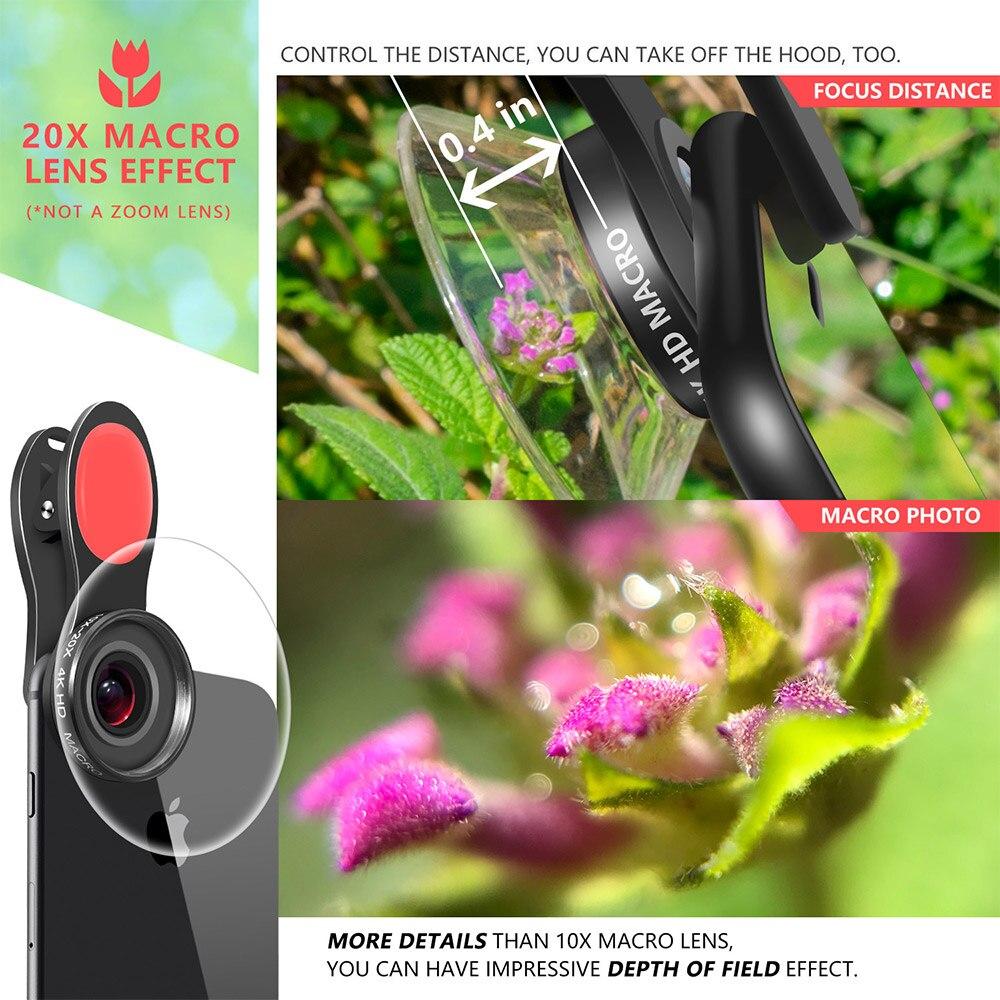 Image 5 - 20X & 10X Супер Макро объектив клип на 4K HD телефон объектив камеры для смартфона iPhone samsung huawei LG Android Мобильный микро мирОбъективы для мобильных телефонов   -