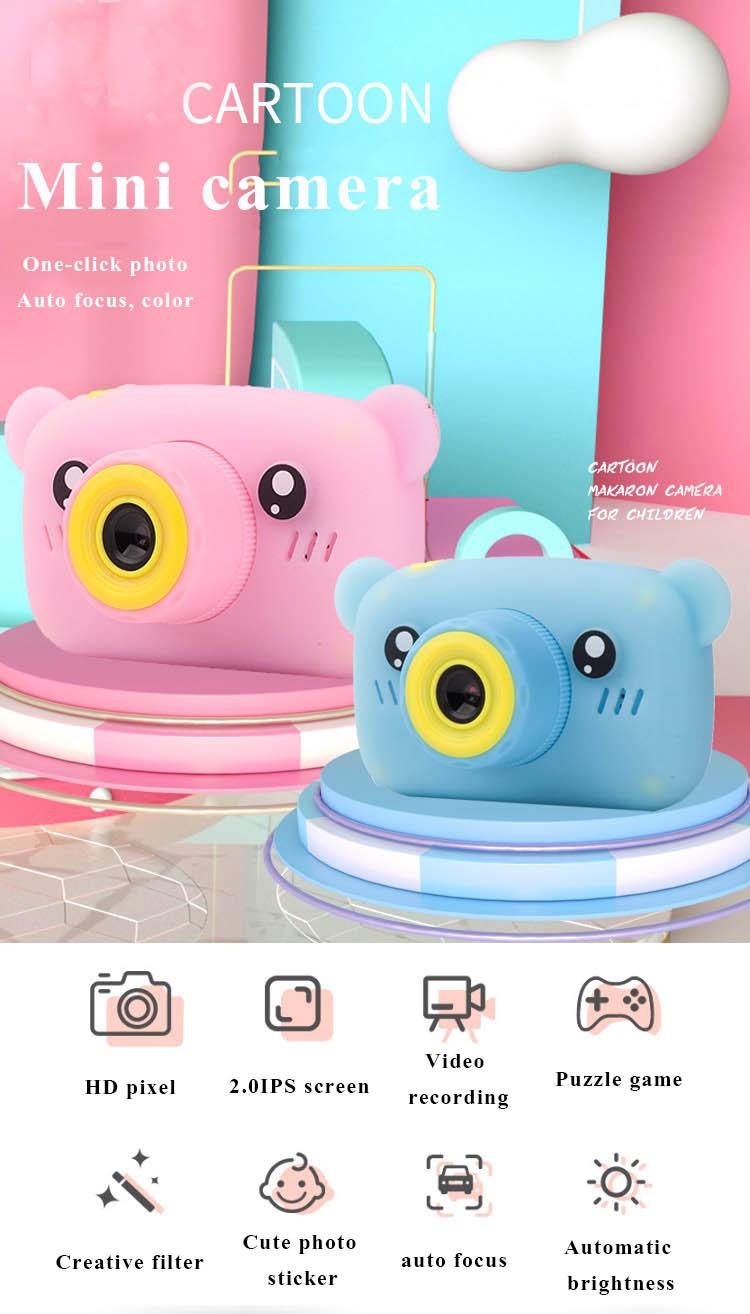 HobbyLane Portable Children 1300W HD Digital Camera Cute Cartoon Bear Shape 2 Inches IPS Screen Mini Camera Toy Gift For Kids 6