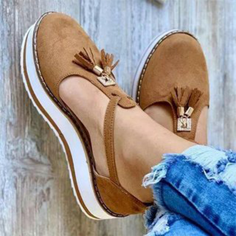 Women Flat shoes Summer Vulcanized shoes Solid Color Thick Bottom Women's Sandals Fashion Tassel Casual Style Women's Shoes(China)
