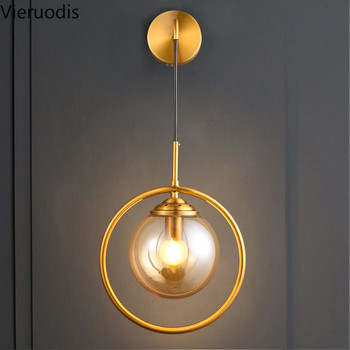 Nordic LED Wall Lamp Glass Ball Wall Light for Living Room Bedroom Bedside Study Indoor Lighting Fixtures Industrial Wall Sconce