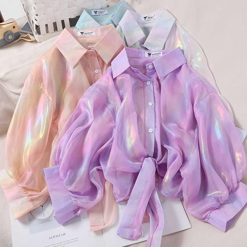 Fashion Women Blouses Chiffon Rainbow Shine Sweet Sun Protection Shirt Korean Clothing Short Lace Up Blouses Tops G1807