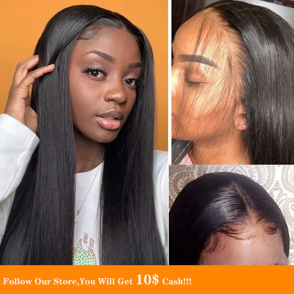 13x6 Straight Lace Front Human Hair Wigs Silky Long Jet Black Hair Large Cap Size Wig Pre Plucked With Baby Hair Natural Looking