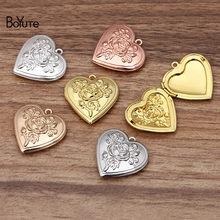 Boyute (10 peças/lote) metal bronze 29*7mm coração medalhão flor rosa flutuante foto medalhão pingente