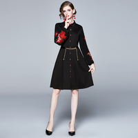 Retro Lantern Sleeve Embroidered Shirt Dress Polo Collar Black Dress Autumn Wear 2019 New Women Long Sleeve Dress
