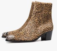 Women Adult Boots Leopard Solid Flock Ankle Zippers Pointed Toe Med Square heel Mature Concise Novelty Fashion 2019